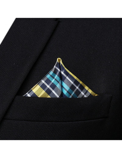 Blue Yellow And White Check Silk Pocket Square