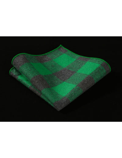 Green Gray Check Jacquard Silk Pocket Square