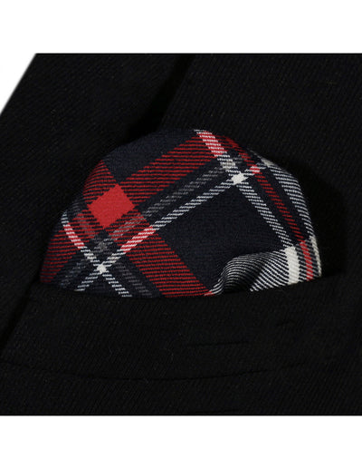 Red Navy Blue Check Jacquard Silk Pocket Square
