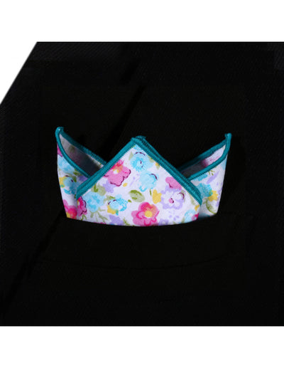 Pink Blue Floral Silk Pocket Square