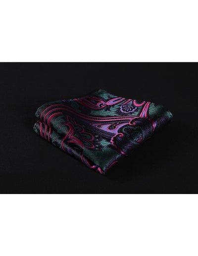 Red Green Purple Paisley Jacquard Silk Pocket Square