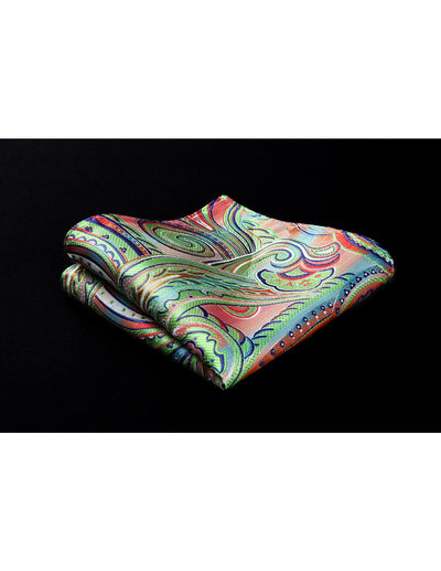 Green Blue Red Paisley Jacquard Silk Pocket Square