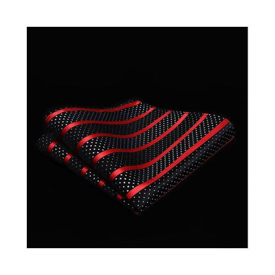 Black And Red Striped Small White Polka Dots XL Silk Tie