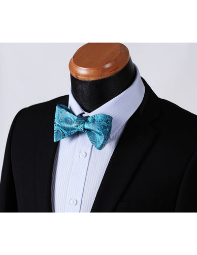 Aqua, Gray Paisley Silk Bow Tie Set