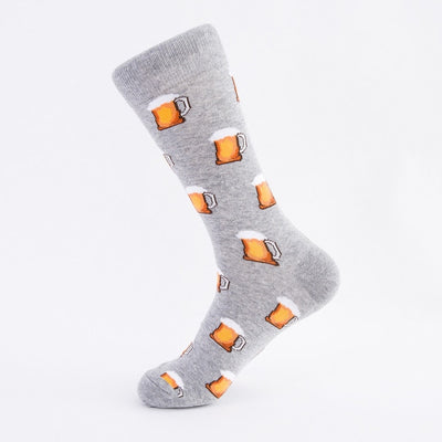 Hot Dog Hamburg Beer Pattern Novelty Crew Funny Food Cotton Socks For Men