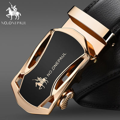 Automatic Buckle Black Genuine Leather Men's Belts 3.5cm