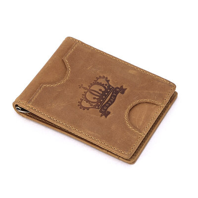 RFID Genuine Leather Money Clip Crazy Horse Thin Bifold Wallet