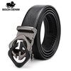 Automatic Buckle Cow Leather Strap Gold Black Metal Buckle Belt N71485