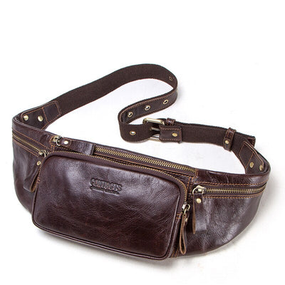 Genuine leather fanny pack waist bag chest bag
