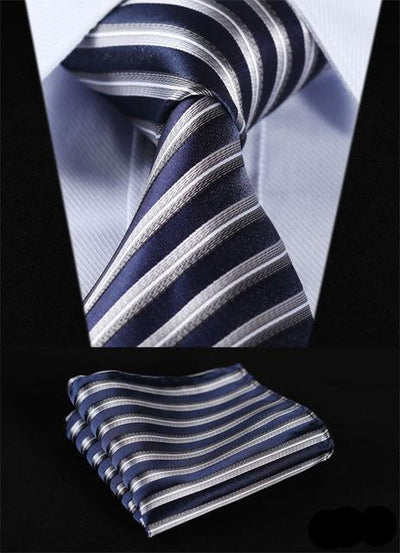 Navy Blue And Silver Striped XL Silk Tie