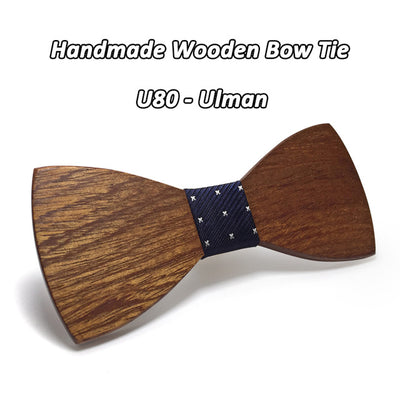 Mens Wooden Butterfly Business Party Bow Tie Set