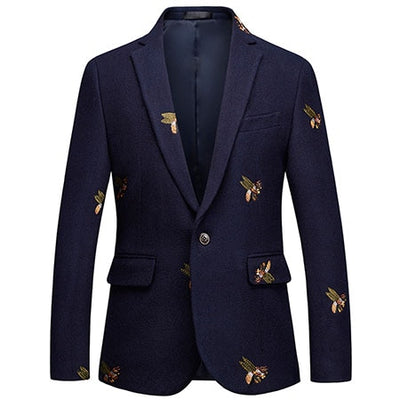 Blazer Bee Embroidery Wedding Party Smart Casual Slim Fit Jacket