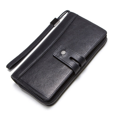 Genuine leather long wallet with card holders cell phone pocket business luxury wallets