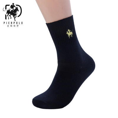 High Quality Fashion 5 Pairs/lot Casual Cotton Business Embroidery Socks