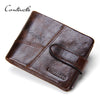 Crazy Horse Cow Leather Men's Short Wallet For Men Zipper Coin Card Holder