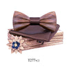 Wooden Bow Tie Handkerchief Set