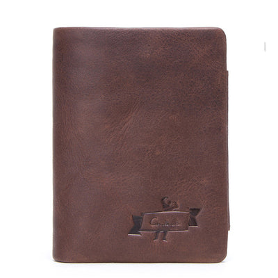 Brand Genuine Cowhide Leather Trifold With Zipper Coin Pocket Wallet