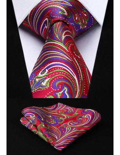Red, Green And Blue Paisley Standard Length Silk Tie Set