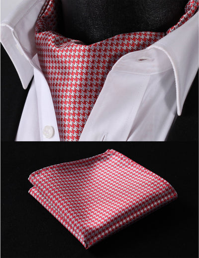Red, Gray Houndstooth Silk Ascot Tie Set
