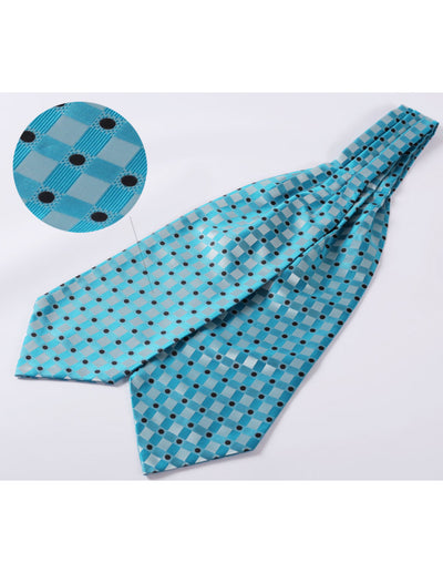 Aqua Check And Black Polka Dots Silk Ascot Tie Set