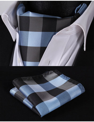 Navy Blue And Black Check Silk Ascot Tie Set