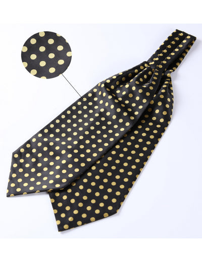 Black, Yellow Polka Dots Silk Ascot Tie Set