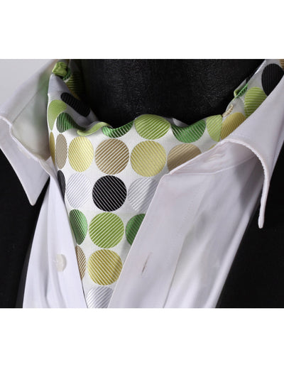 Green, Beige Polka Dots Silk Ascot Tie Set