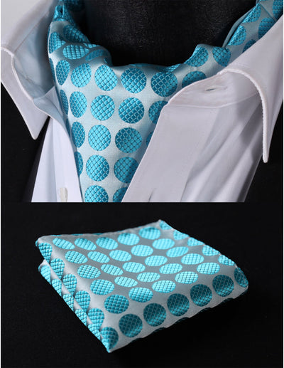 Gray And Aqua Polka Dots Silk Ascot Tie Set