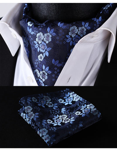 Navy Blue, Gray Dots Silk Ascot Tie Set