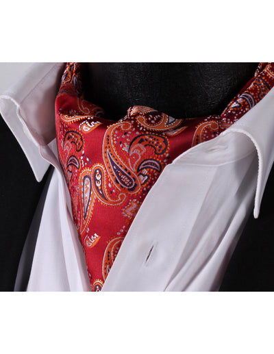 Orange, Red Paisley Silk Ascot Tie Set