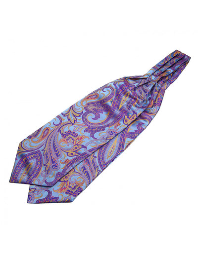 Purple, Yellow Paisley Silk Ascot Tie Set