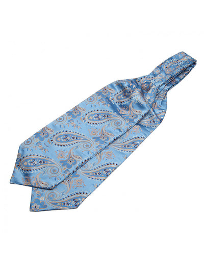 Blue, Gold Paisley Silk Ascot Tie Set
