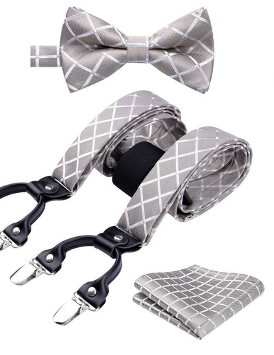Beige Check Silk Suspenders Set