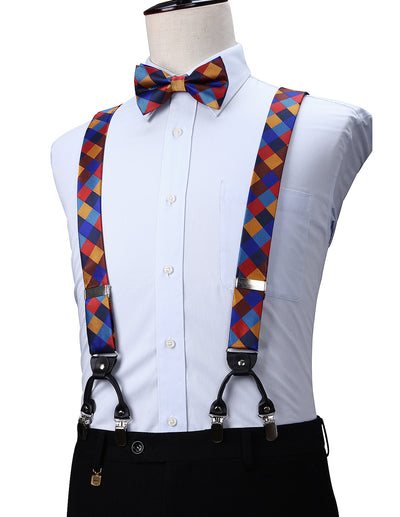 Orange, Yellow, Brown Check Silk Suspenders Set