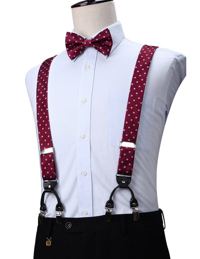 Burgundy Floral Silk Suspenders Set