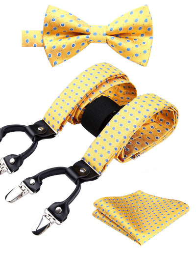 Yellow, Blue Floral Silk Suspenders Set