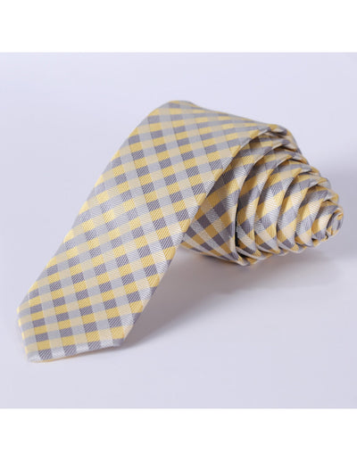 Yellow Beige Check Silk Skinny Tie Set