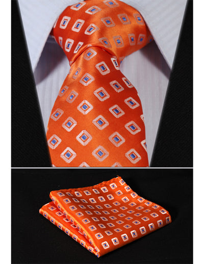 Orange And Blue Floral Standard Length Silk Tie Set