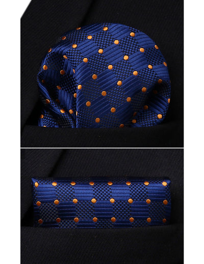 Blue Check And Orange Polka Dots Standard Length Silk Tie Set