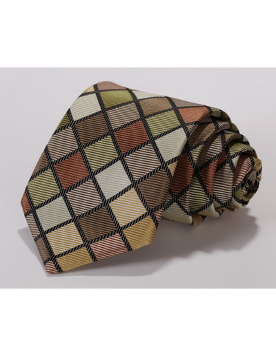 Green, Olive And Brown Check Standard Length Silk Tie Set