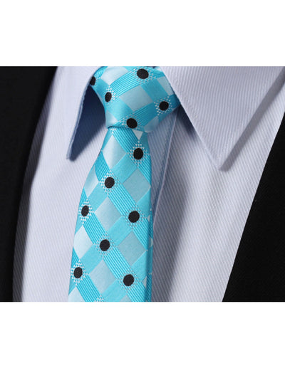 Aqua Blue Check Black Polka Dots Silk Skinny Tie Set