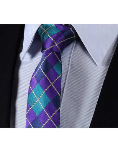 Aqua Purple Check Silk Skinny Tie Set