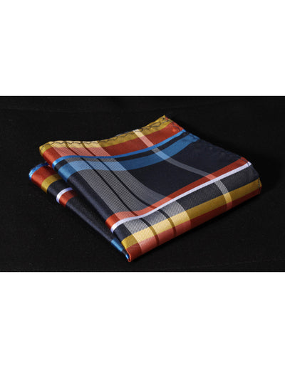 Blue, Orange, Yellow Check Standard Length Silk Tie Set