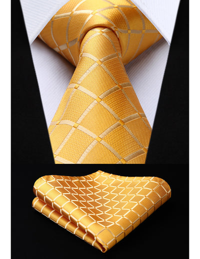 Yellow Check Woven Standard Length Silk Tie Set