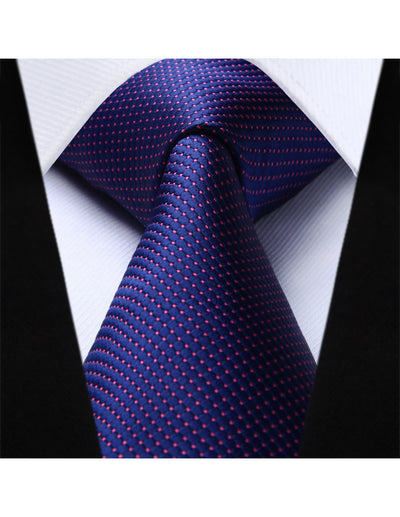 Purple Pink Dots Jacquard Silk Handmade Tie Set