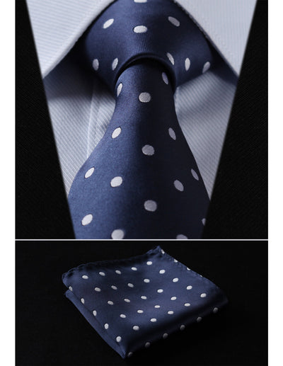 Blue, White Polka Dots Standard Length Silk Tie Set