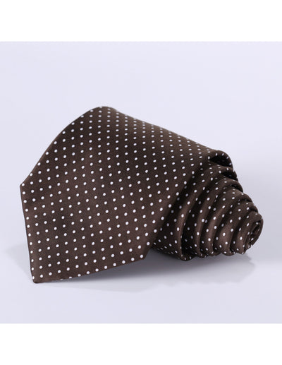 Brown, Small White Polka Dots Standard Length Silk Tie Set