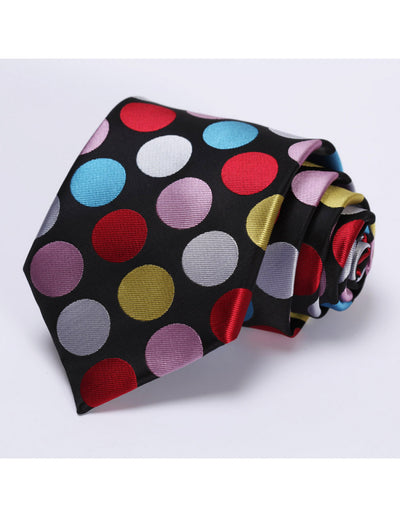 Red, Blue, Pink Polka Dots Standard Length Silk Tie Set