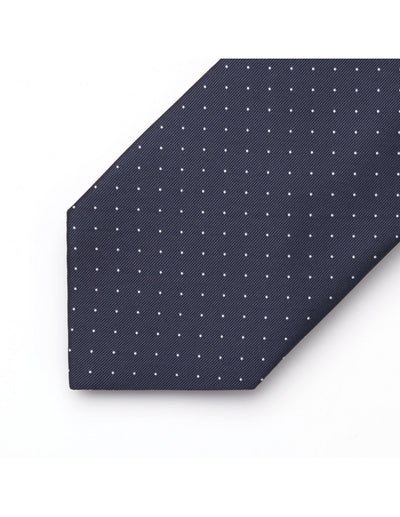 Navy Blue And Small White Polka Dots Standard Length Silk Tie Set