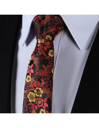 Orange Yellow Floral Silk Skinny Tie Set